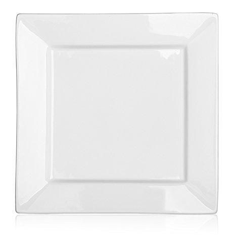 DOWAN 10 Inch Porcelain Square Dinner Plates - 4 Packs White