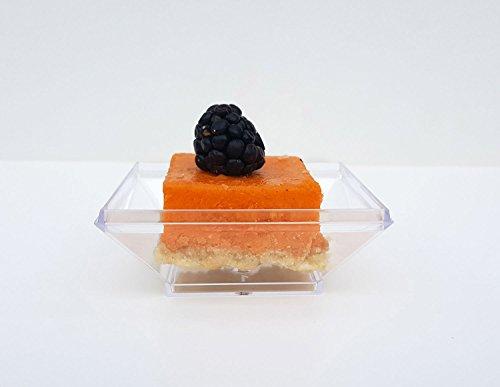 SupaCute Mini Dessert Plates Disposable Appetizer Tray Clear Plastic Serveware 24 Pieces Square