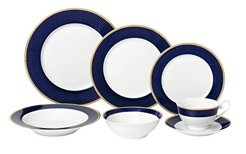 Lorren Home Trends 28 Piece Midnight Bone China Dinnerware Set Service for 4 People Blue