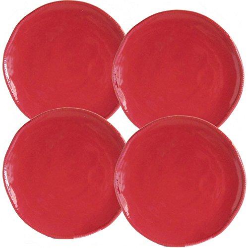 Euro Ceramica Algarve Collection Artisan-Inspired 109 Stoneware Dinner Plates Set of 4 Red