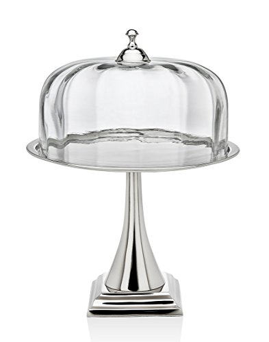 Godinger Silver Art Contemporary Nickel-plated Glass Cake Stand Pedestal Plate With Round Dome