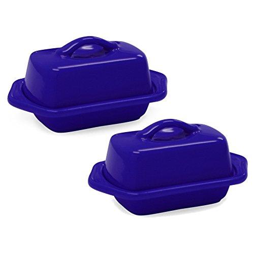Chantal Indigo Cobalt Blue Stoneware Mini 5 Inch Butter Dish Set of 2