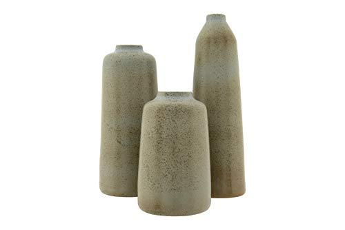 Creative Co-op Blue Stoneware Reactive Glaze Finish Set of 3 Sizes Vase Large Set
