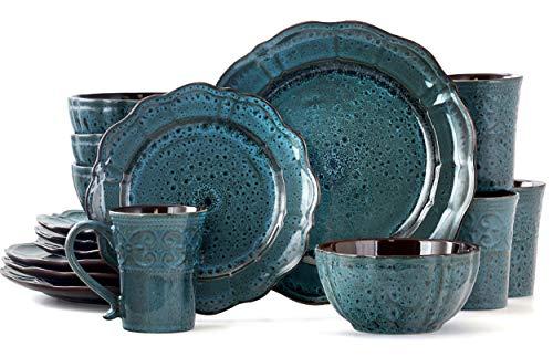 Elama Lavish Blue 16 Piece Round Stoneware Dinnerware Set in Blue