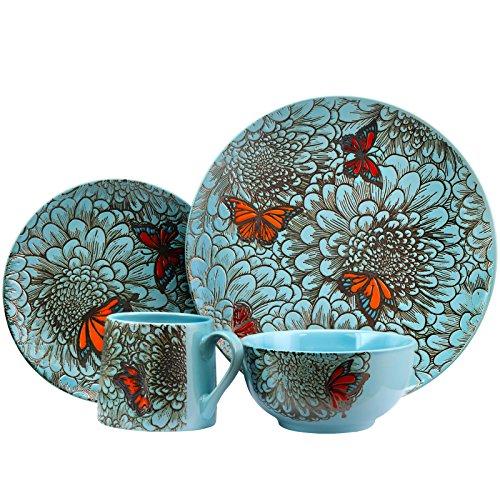Elamas Butterfly Garden 16 Piece Stoneware Dinnerware Set