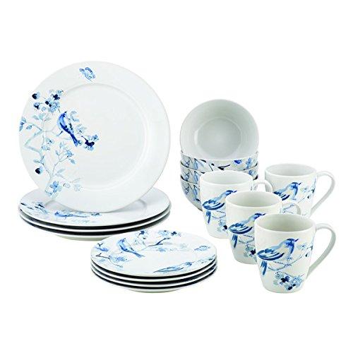 Paula Deenr Dinnerware Indigo Blossom 16-Piece Stoneware Dinnerware Set Print Dishwasher Safe