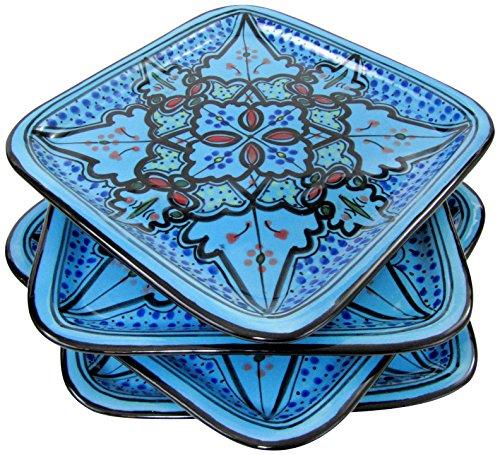 Le Souk Ceramique SB37 Stoneware Square Plates Set of 4 Sabrine