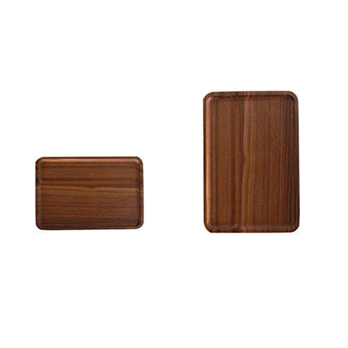 Jili Online 2Pcs Chic Wooden Tea Serving Fruit Trinket Storage Tray Plates SM Platters