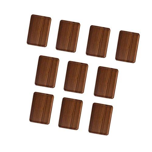 MonkeyJack 10pcs Wooden Serving Tray with Handles for Tea Breakfast Platter 18×13cm