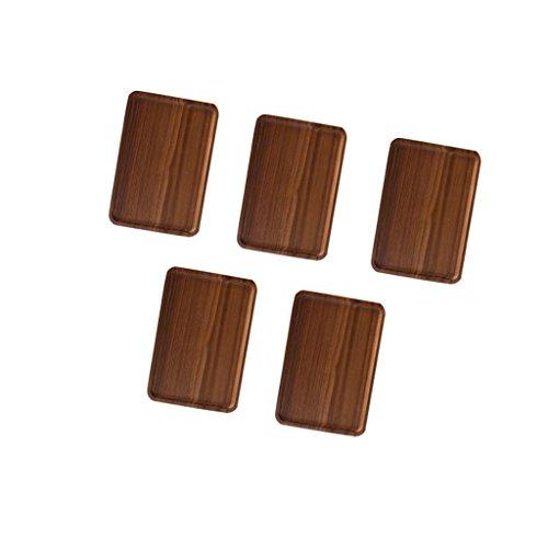 MonkeyJack 5pc Wood Serving Tray with Handles for Tea Breakfast Kitchen Platter 30×20cm