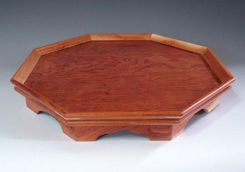 Octagonal Natural Grain Wooden Tea Coffee Wine Serving Platter Tray
