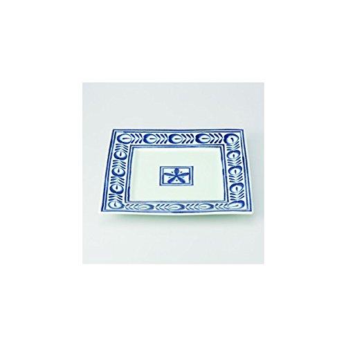 Japanese porcelain Hasami ware Set of 2 modern blue square plates J14-12368
