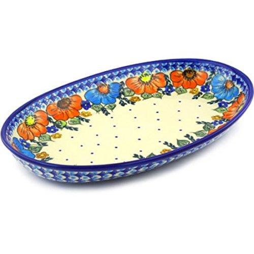 Ceramika Bona H6521F Polish Pottery Ceramic Oval Platter Hand Painted 14-Inch