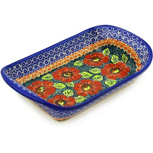 Ceramika Bona H6982E Polish Pottery Ceramic Platter with Handles Hand Painted 11-Inch