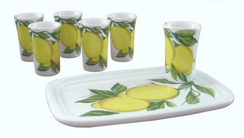 Abbiamo Tutto Limoncello Ceramic Glasses and Ceramic Tray Set of 6