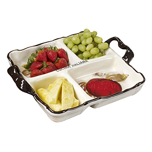 Cucina Italiana Divided Appetizer Serving Platter Tray 15 x 15 In Ceramic 4 Section