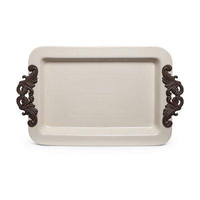 Rectangular Cream Ceramic Tray with Metal Handles