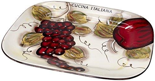 Cucina Italiana Rectangle Ceramic Serving Platter 15 x 12 Inch