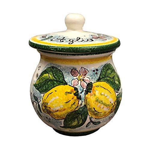 CERAMICHE DARTE PARRINI- Italian Ceramic Brings Garlic Jar Holder Hand Painted Made in ITALY Tuscan Art Pottery