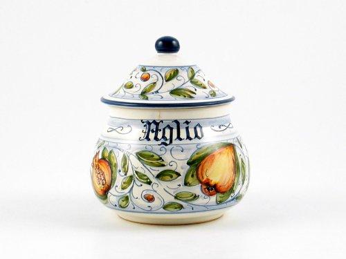 Hand Painted Italian Ceramic Garlic Jar Venezia - Handmade in Gubbio