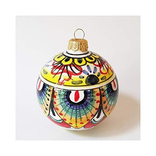 thatsArte Hand Painted Italian Ceramic 3-inch Christmas Balls Ornaments