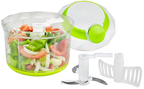 Brieftons Quickpull Food Chopper: Large 4-cup Powerful Manual Hand Held Chopper / Mincer / Mixer / Blender To