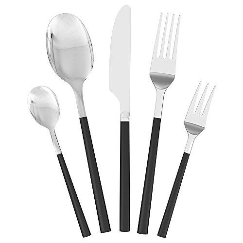 Homgeek Heavy-Duty 5 Pieces Flatware Set High-end Western Tableware Black Handle Stainless Steel Dinnerware
