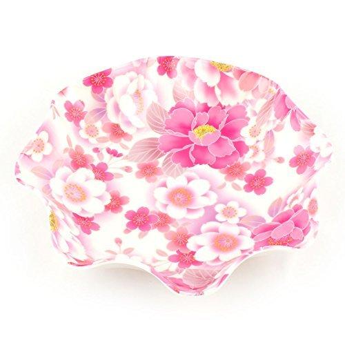 DealMux Floral Print Melamine Home Lotus Leaf Shaped Fruit Candy Holder Plate 245 x 53cm Colorful