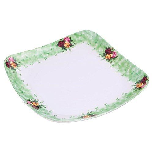 DealMux Melamine Home Restaurant Square Shaped Flower Pattern Food Dessert Plate Holder Green