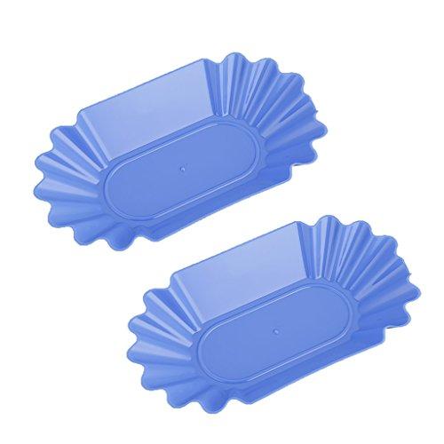 MonkeyJack 2Pcs Oval Food Plastic Serving Plate Dinner Tray Platter Tableware Blue