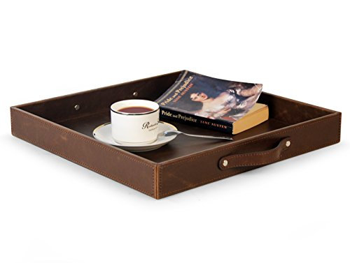 MsBox Top Notch PU Leather Square Serving Tray with Handles Coffee Tray Wood Structue Storage Tray Brown 15 x 15 x 197 inches