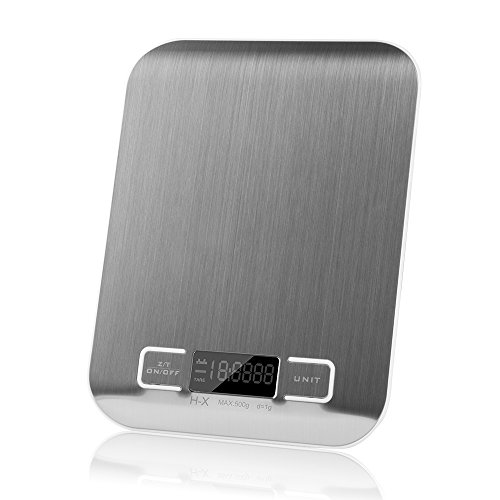 Digital Multifunction Kitchen And Food Scale, Stainless Steel Platform With Lcd Display, 5kg, (silver)