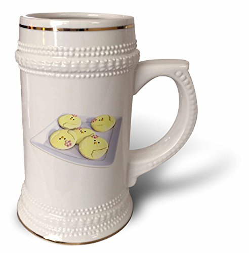 3dRose Boehm Graphics Holiday Easter - Plate of Yellow Easter Chick Cookies - 22oz Stein Mug stn_256698_1