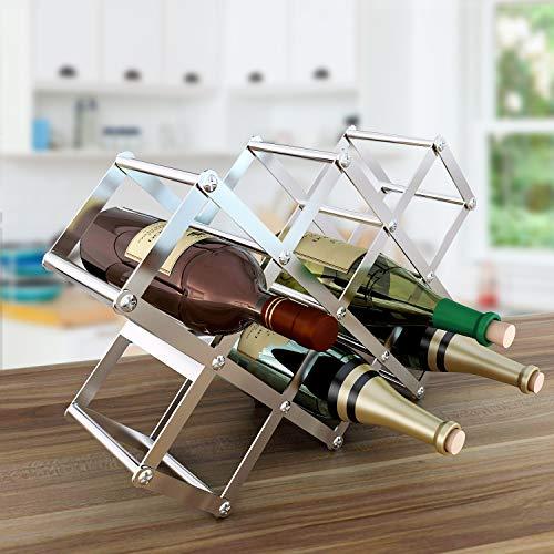 FLE Foldable Stainless Steel Wine Rack Freestanding Bottle Wine Holder - 8 Slots - Countertop Storage Wine Rack Holds 10 Bottles