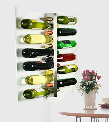 L&X Stainless Steel Wall Mounted Wine Rack 12 Bottle Wine Bottle Holder Wine Shelf Wine Bar Contemporary Wine Rack 12 Bottle Metal Wall Mounted Wine Rack Wine Bottle Rack Horizontal Wine Bottle Rack
