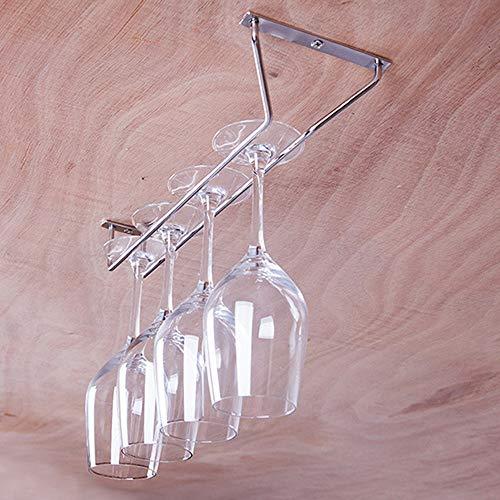 Under Cabinet Wine Glass Rack Chartsea Stainless Steel Wine Rack Glass Holder Hanging Hanger Chrome Stemware Holder for Bar Kitchen Silver