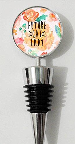 RainbowSky Cute Future Cat Lady Personalized Wine Bottle Stopper Silvery C1099