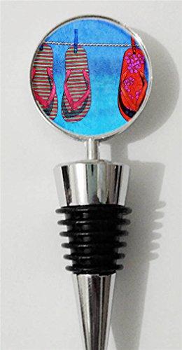 RainbowSky Flip Flops Personalized Wine Bottle Stopper Silvery C1421