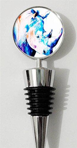 RainbowSky Rhino - Animal Personalized Wine Bottle Stopper Silvery C1243