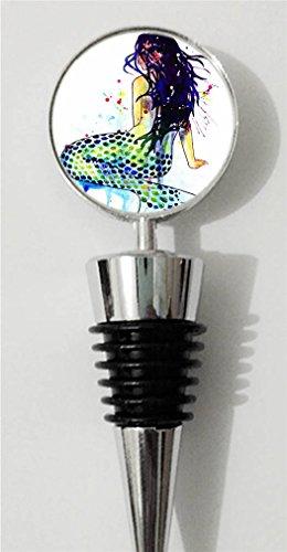 RainbowSky Sea Mermaid Mermaids Personalized Wine Bottle Stopper Silvery C298