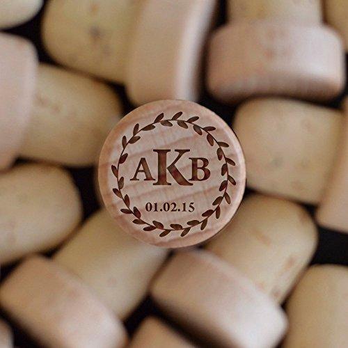 Wine Stoppers SET OF 5 Wood Wine Corks Personalized Wine Bottle Stoppers BEST Monogrammed Bottle stoppers Custom Wine Co