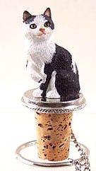 Manx Black White Cat Wine Bottle Stopper