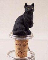 Short Hair Black Cat Wine Bottle Stopper - CTB49