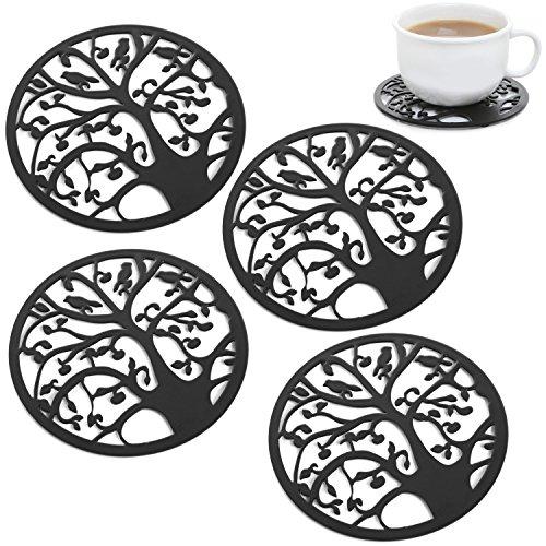 Set of 4 Black Metal Circle Tree Bird Design Decorative Tabletop Mug Cup Drink Coasters - MyGift