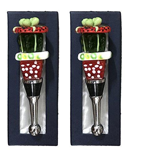 Art Glass Wine Bottle Stopper Christmas Gift Box Set of 2