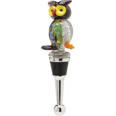 LS Arts Brown Owl Glass Wine Bottle Stopper