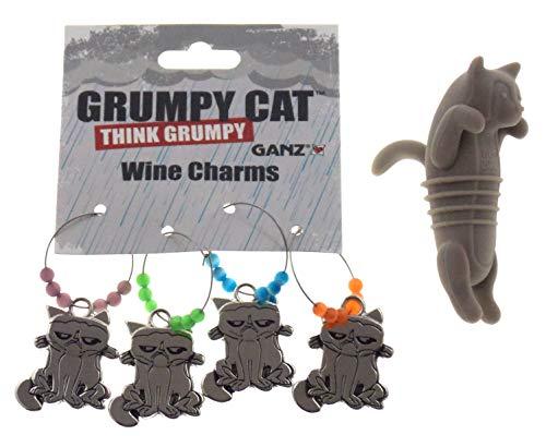 Cat Lovers Wine Bundle - Cat Bottle Stopper Grumpy Cat Wine Charms