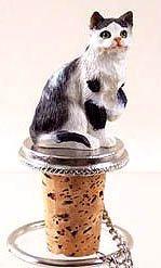 Shorthair Black and White Cat Wine Bottle Stopper