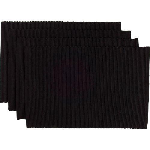 Now Designs Spectrum Basic Cotton Placemats Set of Four Black