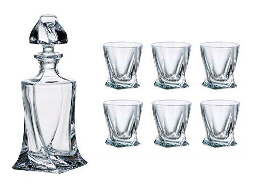 Crystalex Bohemia Quadro LiquorVodka Set 1 Bohemian Crystal Glass 17-Ounce Decanter with Stopper and 6 Shot Glasses